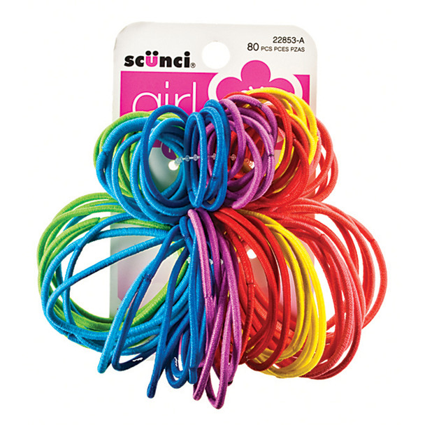 Hair Elastics-Thin No Damage, Asst, 80 Pc - 1 Pkg