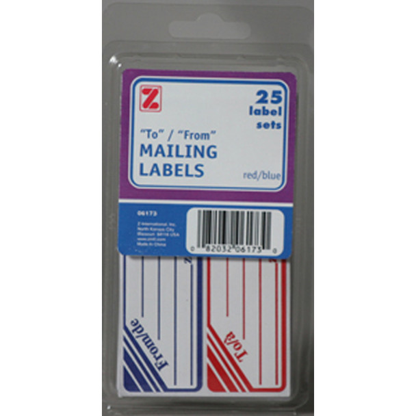 Parcel Post Labels, Red/Blue, To/From - Pack of 25