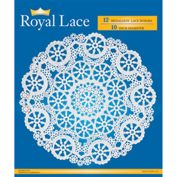 """Royal Lace Paper Lace Doilies, White, 10"""" - 12 ct"""