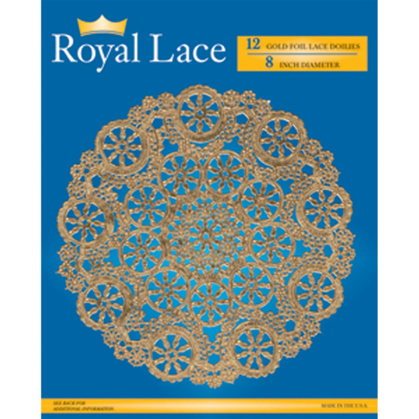 "Royal Lace Foil Lace Round Doilies, Gold, 8"" - 12 ct"