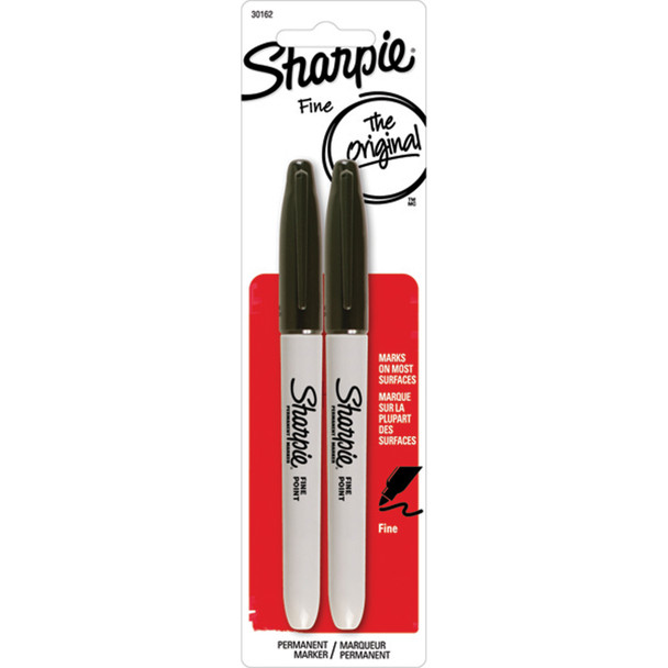 Sharpie Fine Point Marker, Black, 2Ct. - 1 Pkg