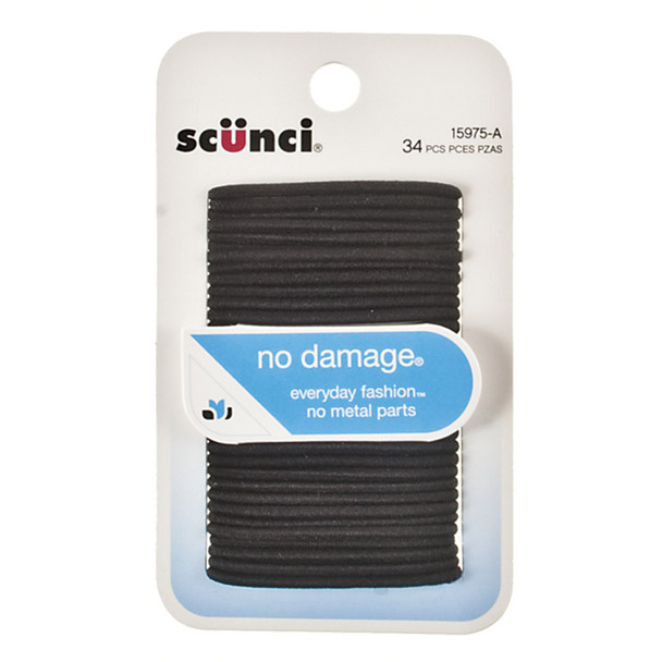 Hair Elastics No Damage, Black - 34 Ct
