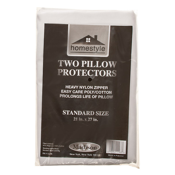 """Pillow Cover With Zipper - 2 Pack, 21""""X27""""/Standard, White - 1 Pkg"""