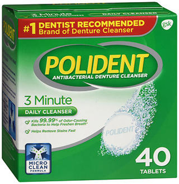 Polident 3 Minute Antibacterial Denture Cleanser Tablets - 40 ct