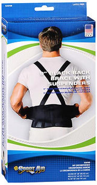 Sport Aid Back Brace with Suspenders XL Black - Each