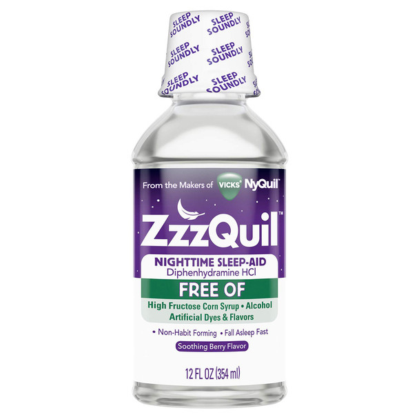 ZzzQuil Nighttime Sleep-Aid Liquid Soothing Mango Berry Alcohol Free - 12 oz