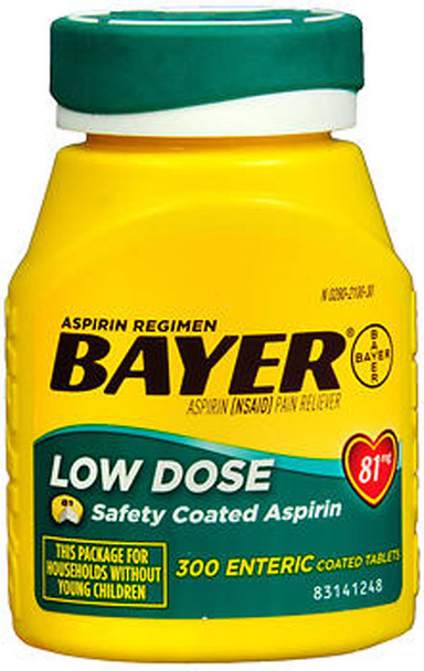 Bayer Low Dose Aspirin 81 mg Enteric Coated Tablets - 300 ct