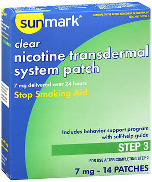 Sunmark Nicotine Transdermal System Step 3 - 7 mg Patches - 14ct