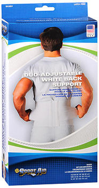 Sport Aid Duo-Adjustable White Back Support MD/LG - Each