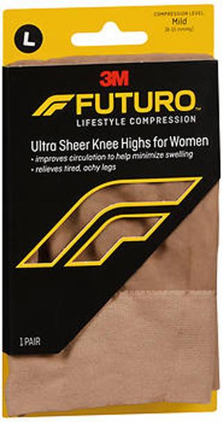 Futuro Energizing Ultra Sheer Knee Highs for Women, Large Nude Mild - 1 Pr.