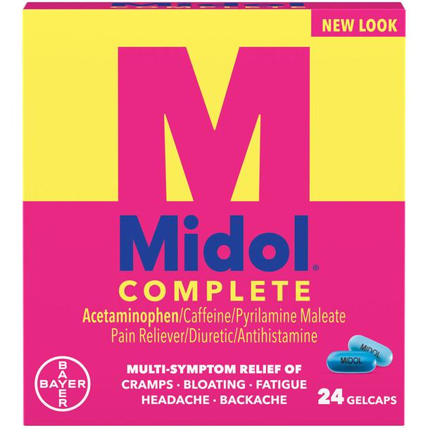 Midol Complete Pain Reliever/Diuretic/Antihistamine - 24 Gelcaps