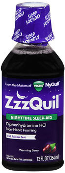 ZzzQuil Nighttime Sleep-Aid Liquid Warming Berry - 12 oz