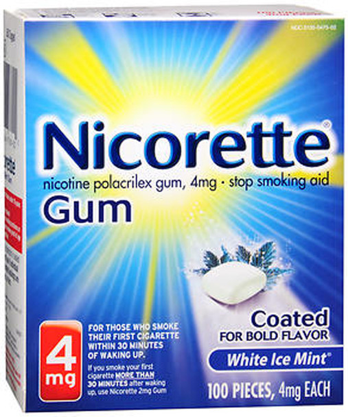 Nicorette 4mg Coated White Ice Mint - 100 ct