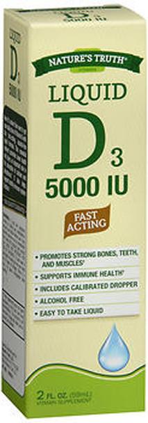 Nature's Truth D3 5000 IU Fast Acting Vitamin Supplement Liquid - 2 oz