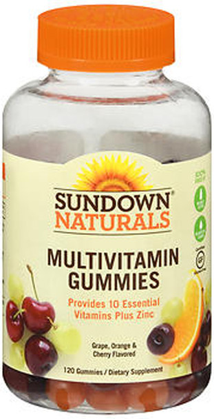 Sundown Naturals Adult Multivitamin with Vitamin D3 Gummies Orange, Cherry and Grape Flavored - 120 ct