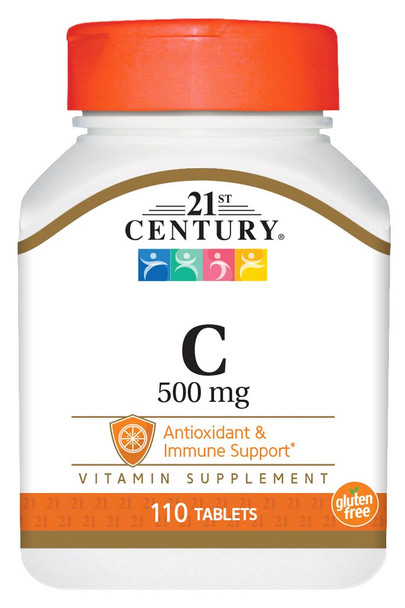 An image of a bottle of Vitamin C tablets from 21st Century, available at The Online Drugstore.