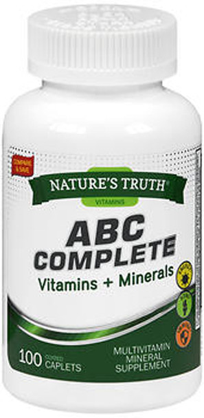 Nature's Truth ABC Complete Vitamins + Minerals Multivitamin Mineral Supplement - 100 Coated Caplets