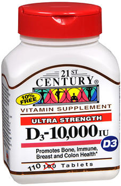 21st Century Dietary Supplement Tablets D3-10,000 IU Ultra Strength - 110 ct
