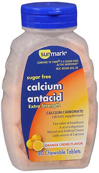 Sunmark Sugar Free Calcium Antacid, Extra Strength, Chewable Tablets, Orange Creme Flavor - 80 Tablets