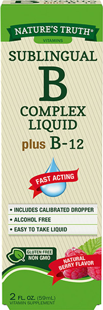 Nature's Truth Sublingual B Complex Liquid Plus B-12 Natural Berry Flavor Liquid - 2 oz