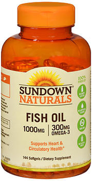 Sundown Naturals Fish Oil 1000 mg Softgels Omega 3 - 144 ct