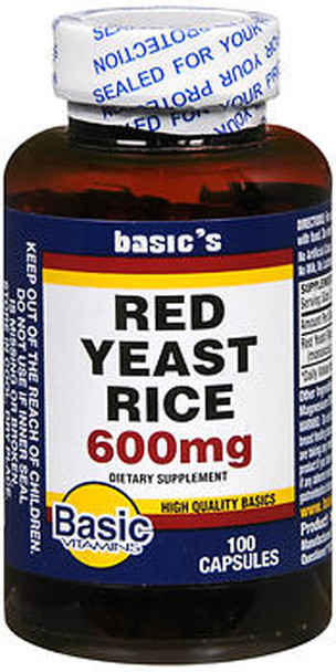 Basic Vitamins Red Yeast Rice 600 mg - 100 ct
