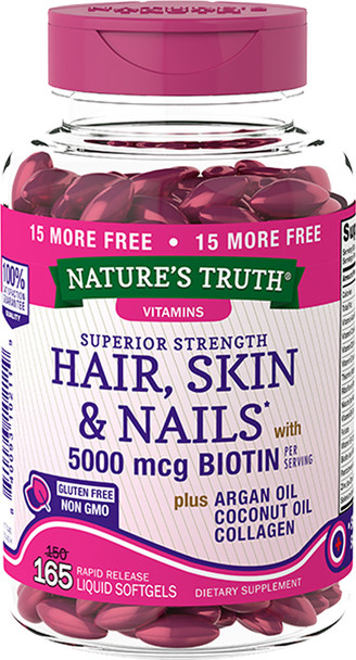 Nature's Truth Superior Strength Hair, Skin & Nails with Biotin plus Argan Oil, Coconut Oil, Collagen - 165 Softgels