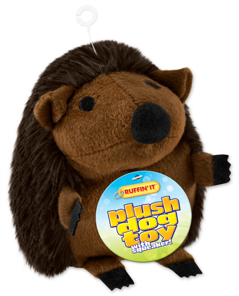 Plush Hedgehog Dog Toy - Brown
