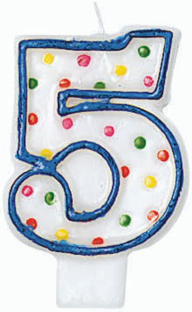 "Polka Dot Birthday Candles - #5, 3"""