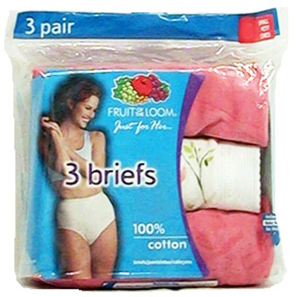 Ladies' Colored Cotton Briefs 3-Pack Underwear - Size 7, Assorted