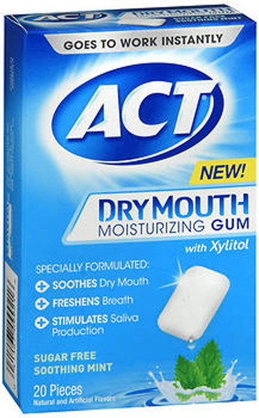 ACT Dry Mouth Moisturizing Gum With Xylitol Sugar Free Soothing Mint - 20 ct