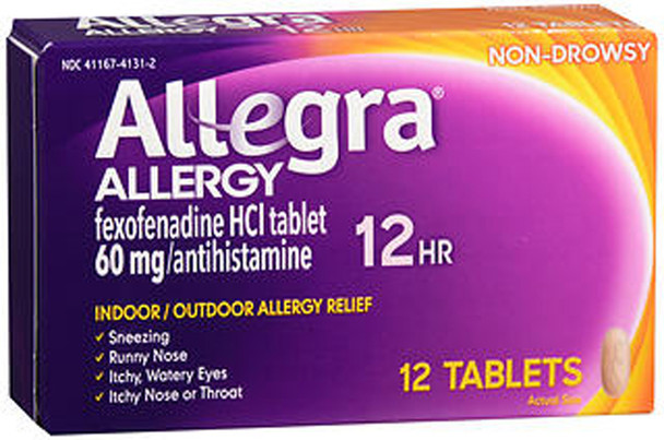 Allegra Allergy 60 mg Tablets 12 Hour - 12 Ct.