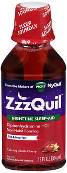 ZzzQuil Nighttime Sleep-Aid Liquid Calming Vanilla Cherry - 12 oz