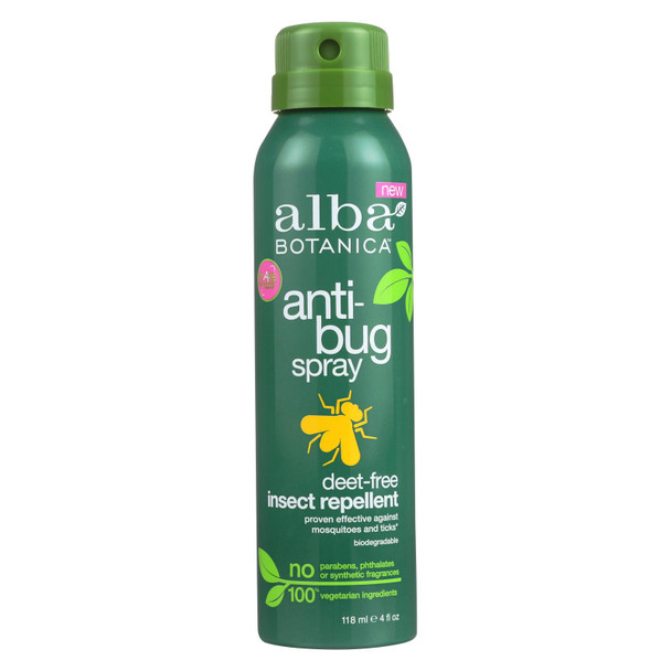 Alba Botanica Anti-bug Spray - Deet Free - 4 Fl Oz
