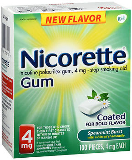 Nicorette Stop Smoking Aid Gum 4 mg Spearmint Burst with a Hint of Chamomile - 100 ct