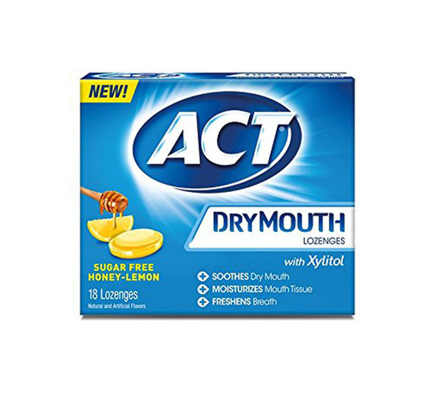 ACT Dry Mouth Lozenges Sugar Free Honey-Lemon -18 count
