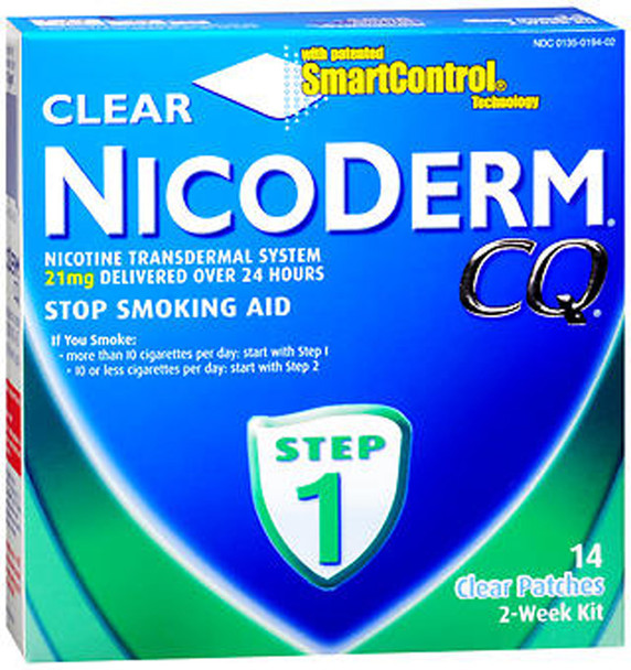 NicoDerm CQ Clear Patches, 21 mg,  Step 1 - 14 ct