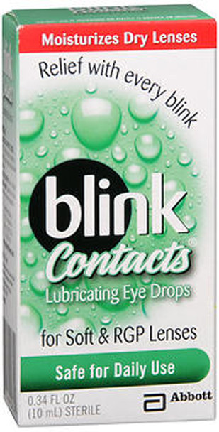 blink Contacts Lubricating Eye Drops For Soft & RGP Lenses - 0.34 oz