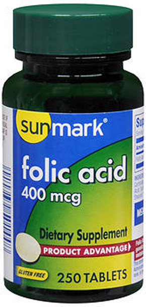 Sunmark Folic Acid 400 mcg Tablets - 250 ct