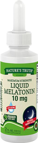 Nature's Truth Maximum Strength Melatonin 10 mg Dietary Supplement Liquid Natural Berry Flavor - 2 oz