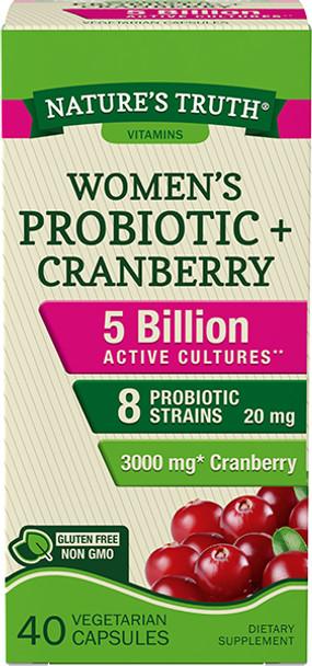 Nature's Truth Women's Probiotic + Cranberry Dietary Supplement Vegetarian Capsules - 40 ct