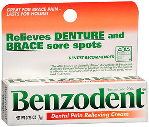 Benzodent Denture Pain Relieving Cream - 0.25 oz