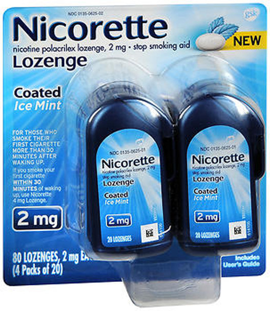 Nicorette 2mg Coated Nicotine Lozenge Stop Smoking Aid - Ice Mint - 80 ct