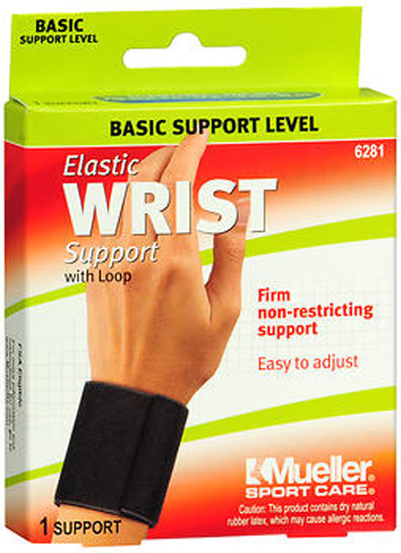 Mueller Sport Care Elastic Wrist Support with Loop One Size Black 6281