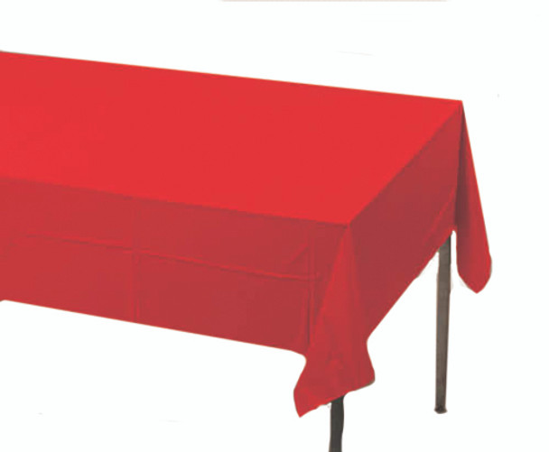 Solid Plastic Tablecover 100' Roll, Red