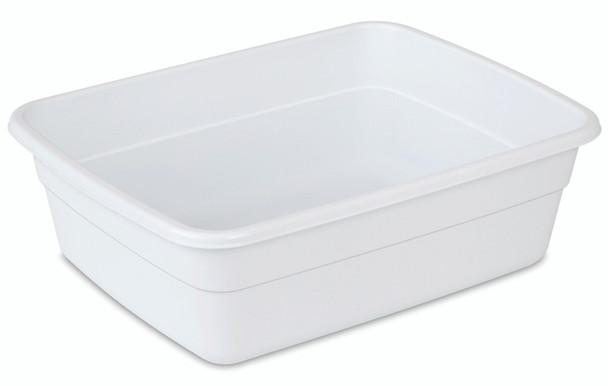 "Sterilite Small White 8 Qt. Dish Pan - 14"" L X 10.75"" W X 4.5"" H"