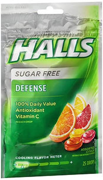 Halls Defense Vitamin C Drops Sugar Free Assorted Citrus - 25 ct