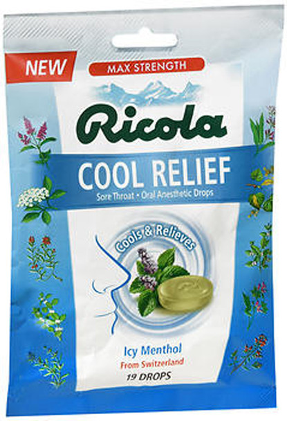 Ricola Cool Relief Oral Anesthetic Drops Icy Menthol - 19 ct