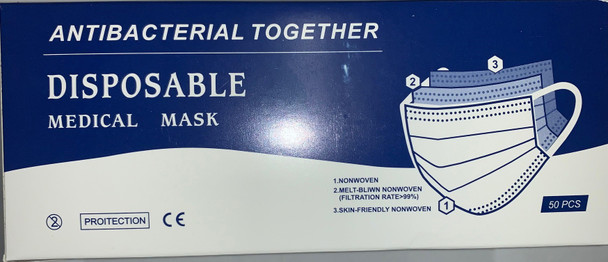 Antibacterial Together Disposable 3 Ply Medical Face Mask - 50 ct