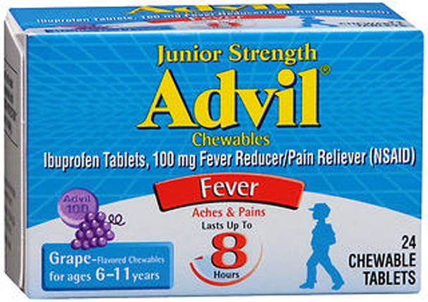Advil Fever Reducer/Pain Reliever Chewable Tablets Junior Strength Grape Flavored - 24 ct